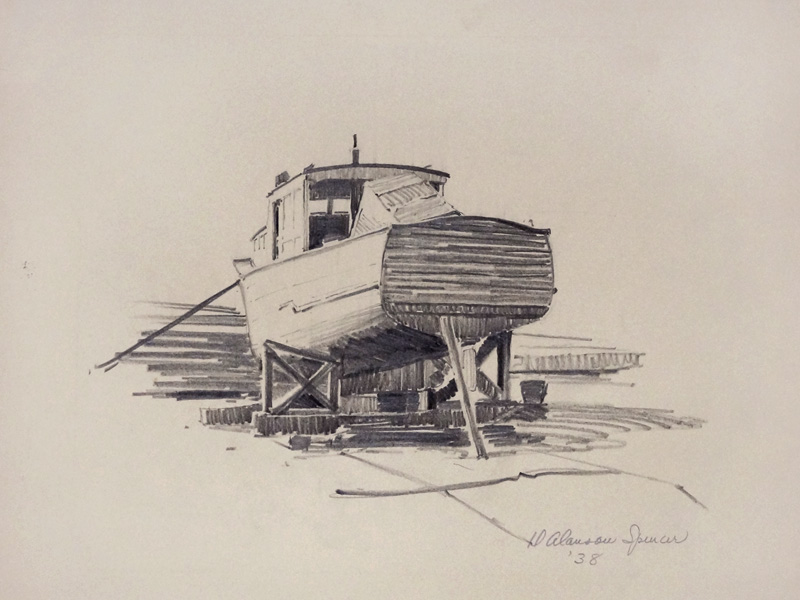 1938 duncan spencer pencil drawing fishing boat long beach for How to draw a fishing boat